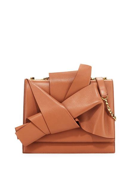 N°21 Large Leather Bow Shoulder Bag In Pink