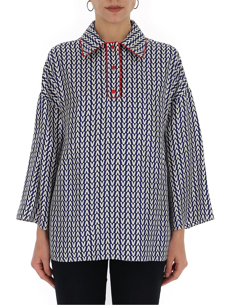 a10dbffffe3 Valentino Patterned Relaxed Fit Top In Blue