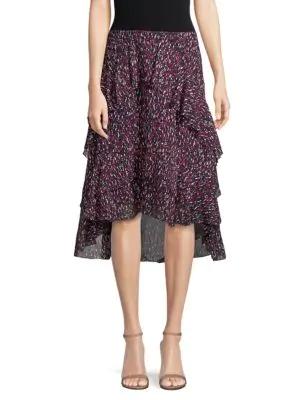 Joie Brigida High-low Ruffle Skirt In Midnight