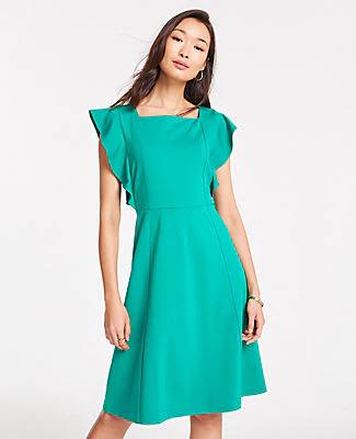 Pee Ponte Flutter Sleeve Flare Dress In Pepper Green