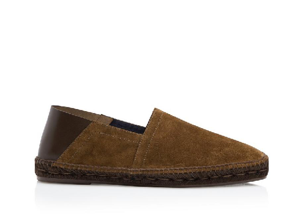 Tom Ford Barnes Suede And Leather Espadrilles In Dark Brown