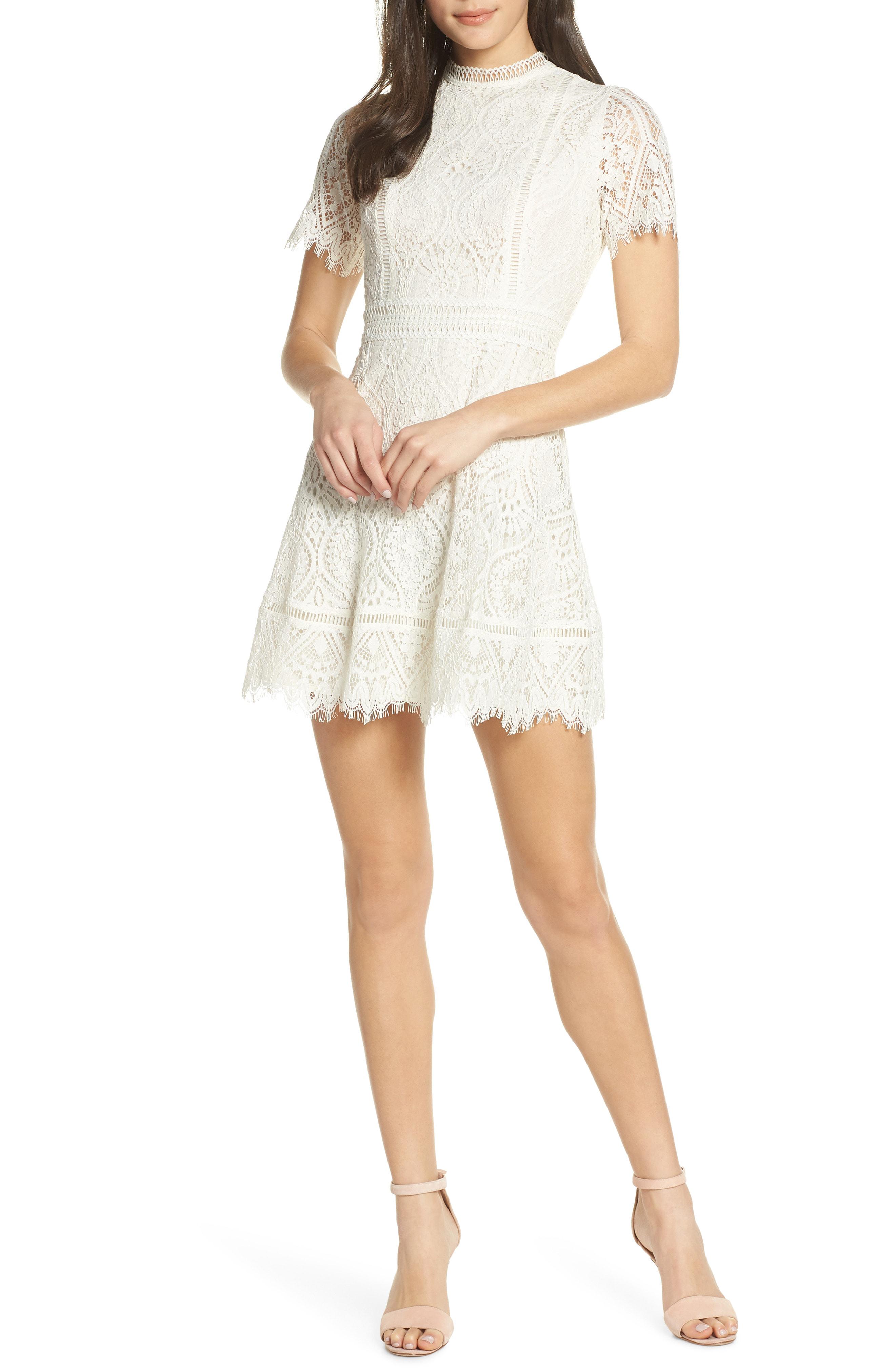 efcf7886eb1 Bb Dakota On List Short Sleeve Lace Fit & Flare Dress In Ivory ...