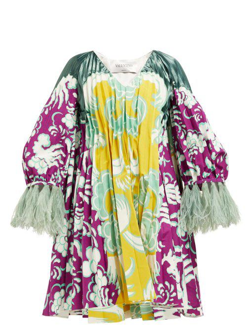 Valentino Abstract Print Cotton Blend Faille Mini Dress In Purple Multi