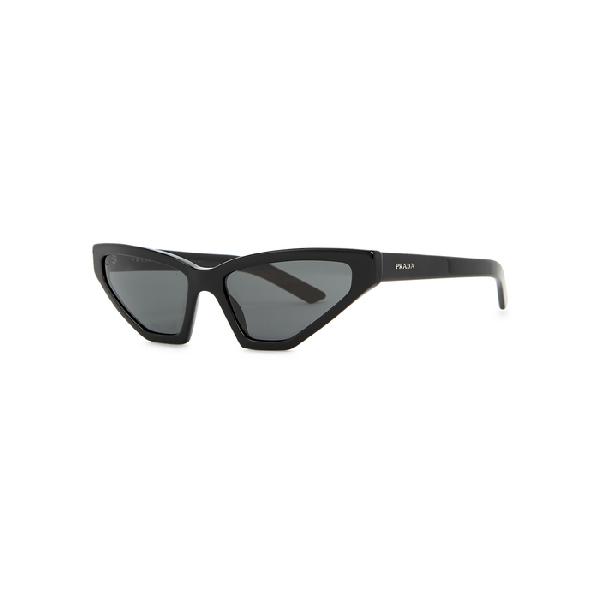 Prada Pr 12vs Millennial Narrow Cat Eye Sunglasses In Schwarz