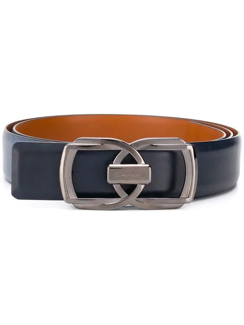 Santoni Double Buckle Belt In Blue