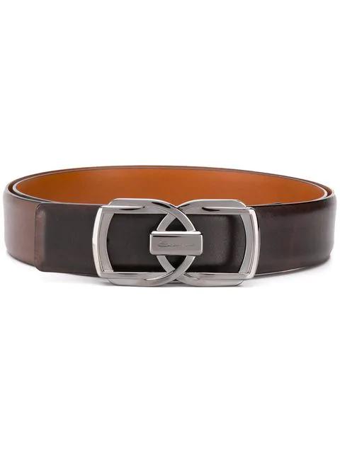 Santoni Double Buckle Belt In Brown