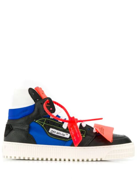 Off-White Off-Court Logo-Embellished Canvas, Leather And Suede High-Top Sneakers In Black