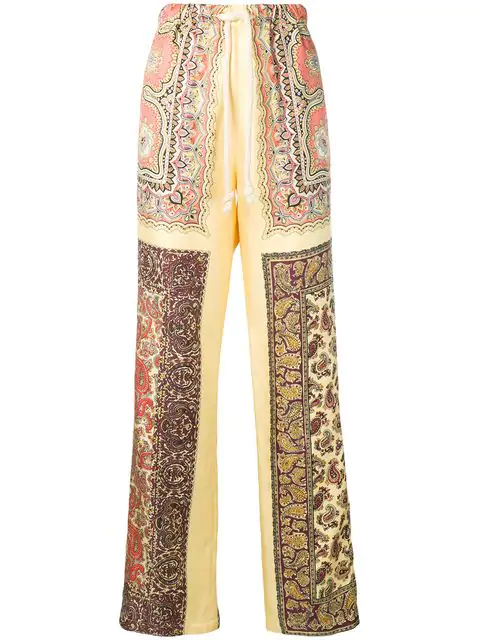 Etro Paisley Drawstring Wide-leg Pants In 700