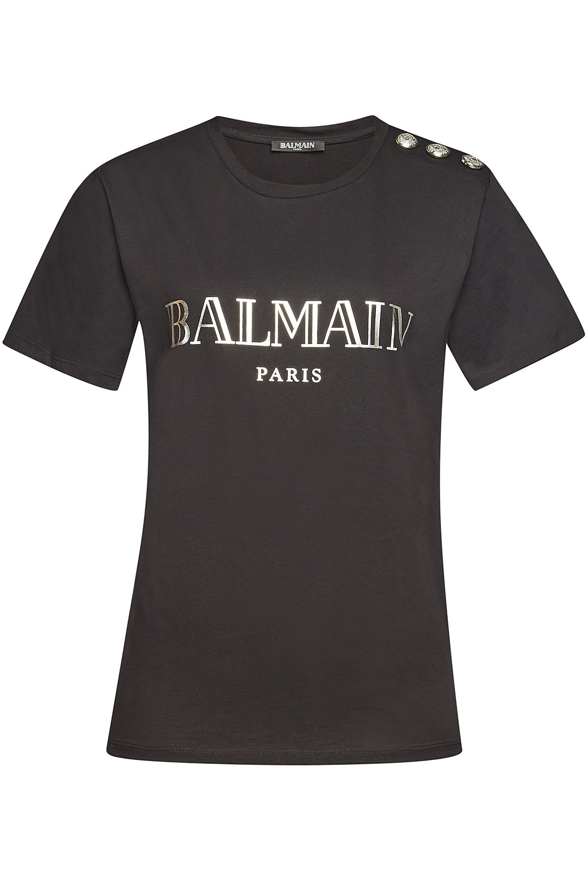 1d8219c86 Balmain Printed Cotton T-Shirt With Embossed Buttons In Black | ModeSens