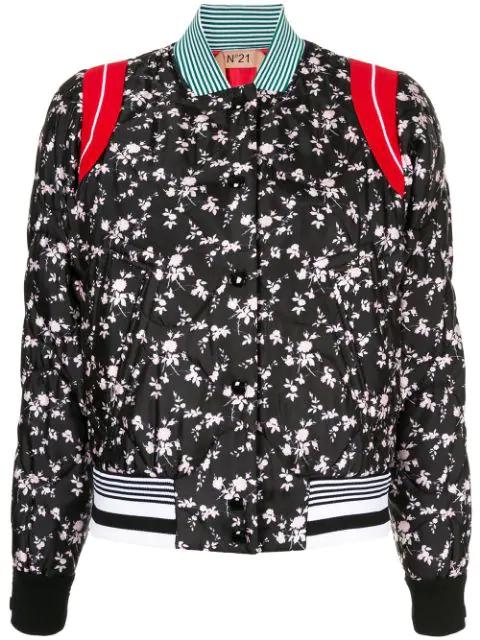 N°21 Floral Print Bomber Jacket In Black