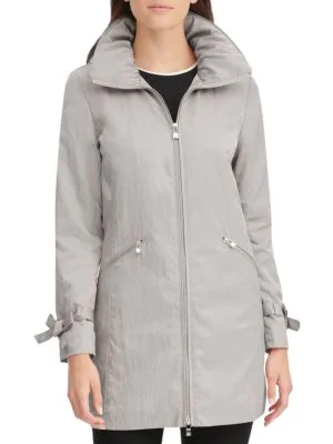 Karl Lagerfeld Packable A-line Rain Jacket In Mist