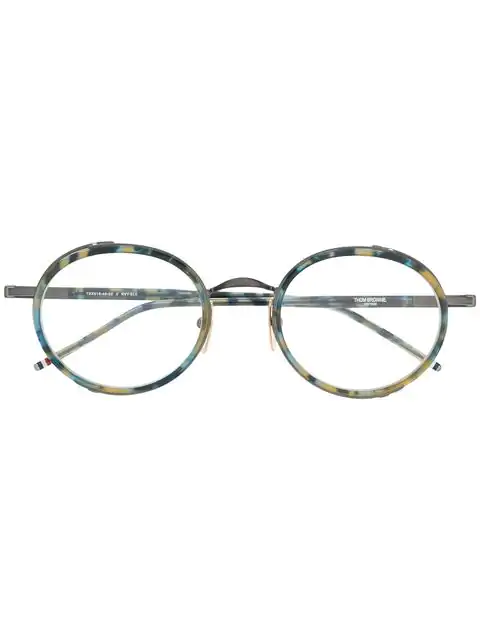 Thom Browne Tortoise Border Glasses In Blue