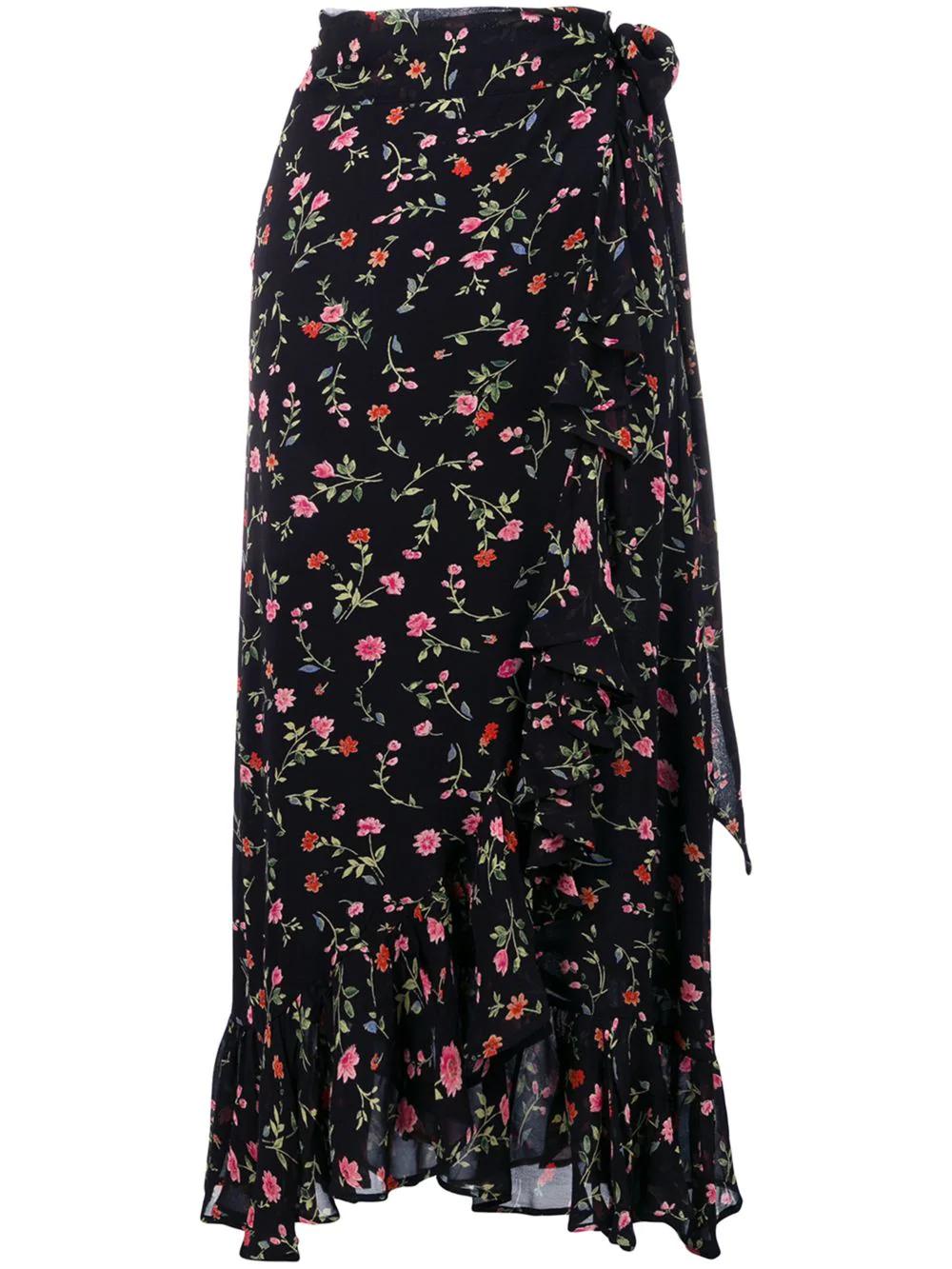 2fde90ef Ganni Elm High-Rise Crepe Wrap Skirt In Black | ModeSens