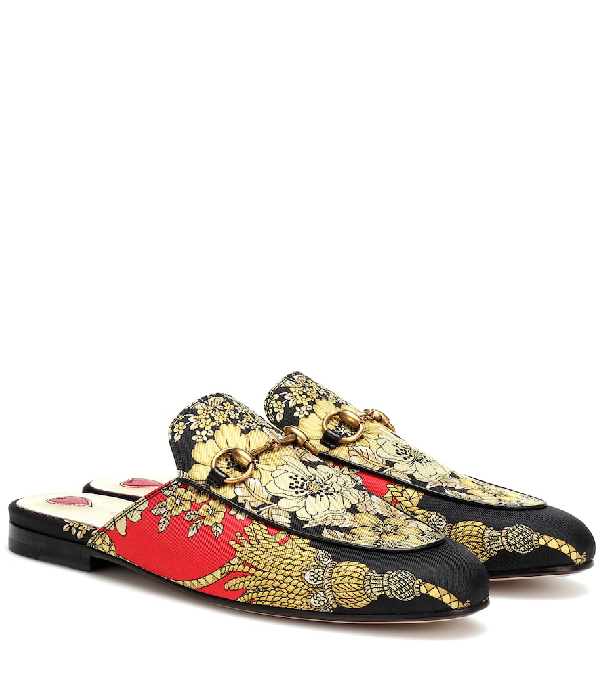 Gucci Princetown Horsebit-Detailed Printed Faille Slippers In Multicoloured