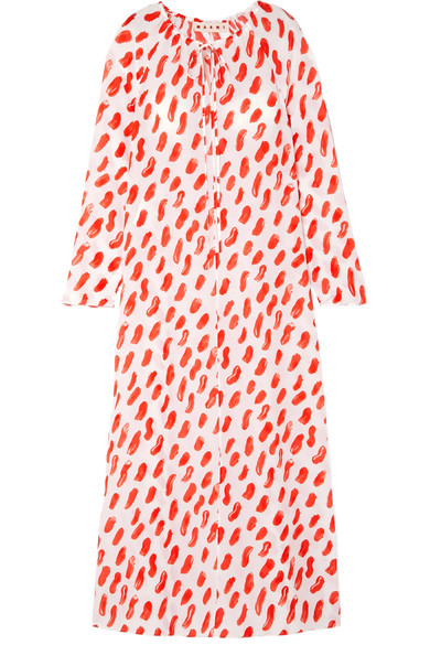 Marni Printed Silk-Georgette Maxi Dress In Red