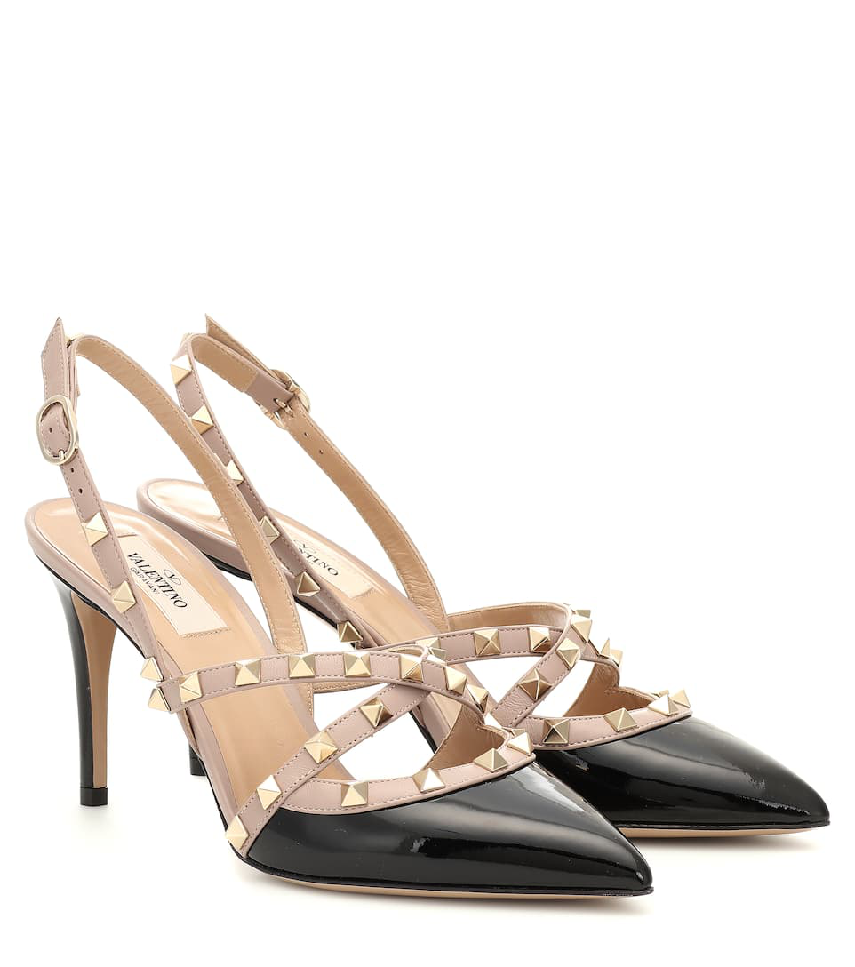 Pumps In Patent Leather Rockstud Black Slingback 08yvNmOwn