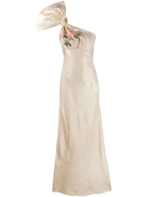 Alexander Mcqueen Women's Jacquard Silk Shell One-shoulder Mermaid Gown In Neutrals