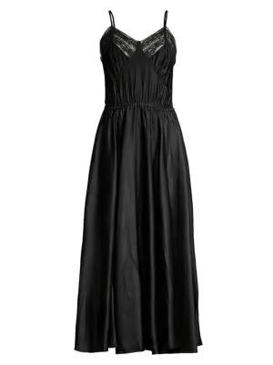 Michael Kors Satin Charmeuse Crushed Cami Midi Dress In Black