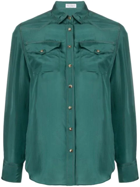 Brunello Cucinelli Long Sleeved Shirt In Green