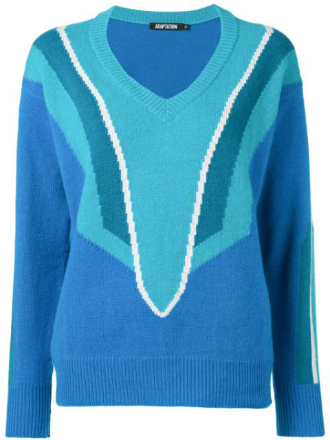 Adaptation Patterned V-neck Jumper In Blue