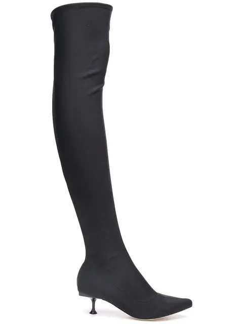 Sergio Rossi Thigh High Sock Boots In Black