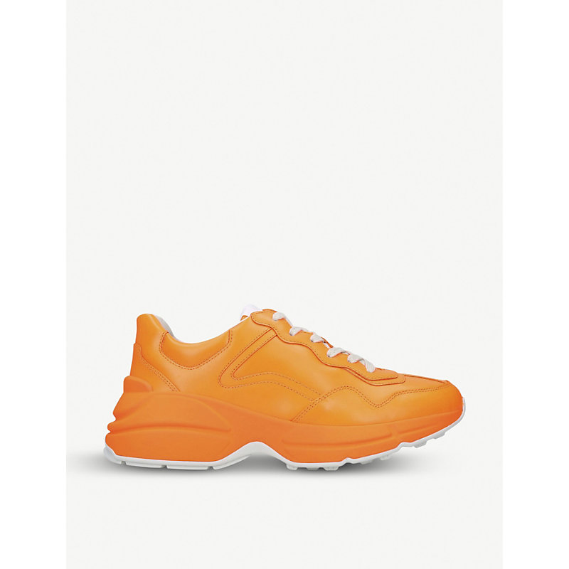 Gucci Rhyton Colour-Blocked Leather Trainers In Orange