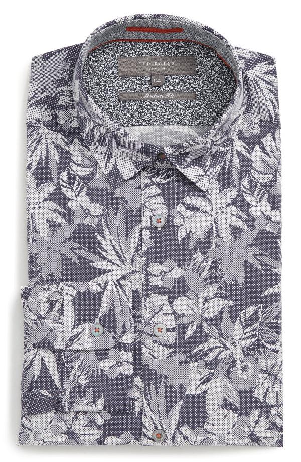 Ted Baker Pandar Floral Dot Print Phormal Slim Fit Shirt In Blue