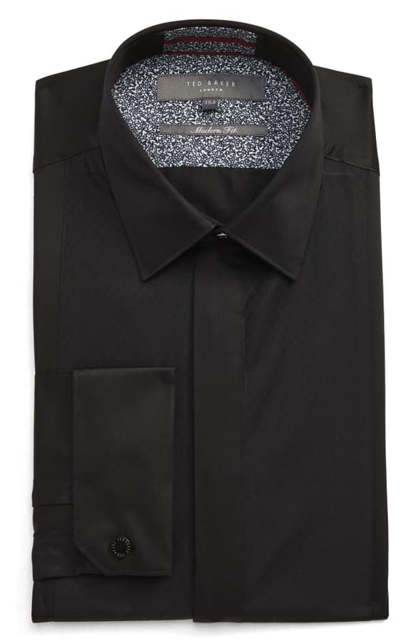 Ted Baker Babana Plain Phormal Slim Fit Shirt In Black