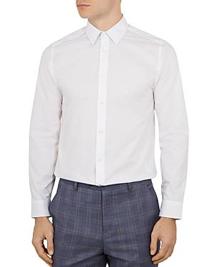 Ted Baker Timone Diamond Phormal Slim Fit Shirt In White