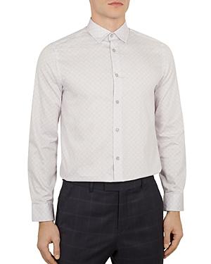 Ted Baker Nalar Geo Print Phormal Slim Fit Shirt In Lilac
