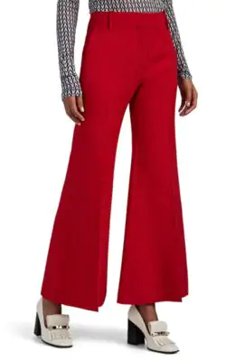 Valentino Wool-Silk Crepe Wide-Leg Pants In Red
