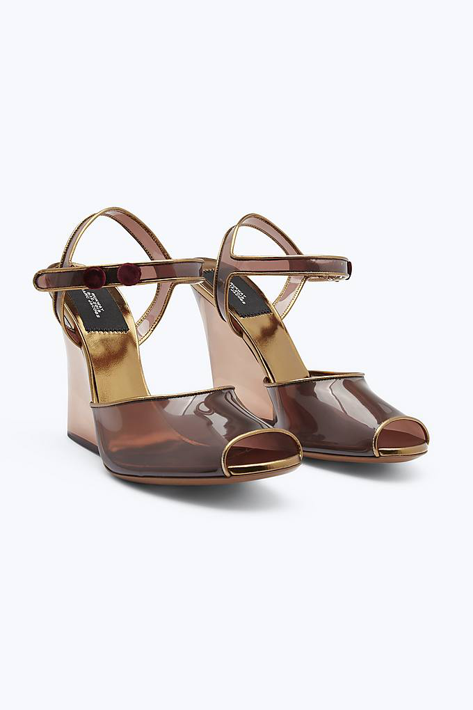Marc Jacobs Clear Wedge Sandal In Brown