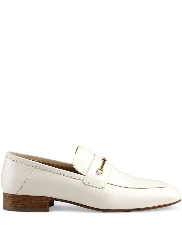 Gucci Leather Loafer With Horsebit And Double G In White
