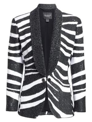 db42fe58e62 St. John Jacquard Sequin Zebra Blazer Jacket In Caviar White