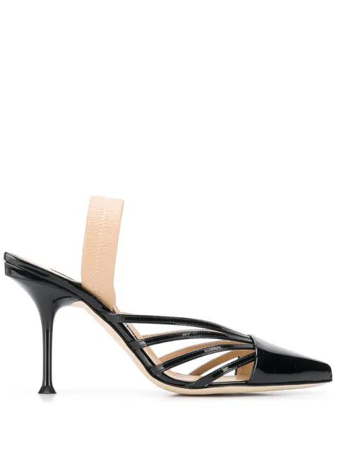 Sergio Rossi Stiletto Slingback Shoes - Black
