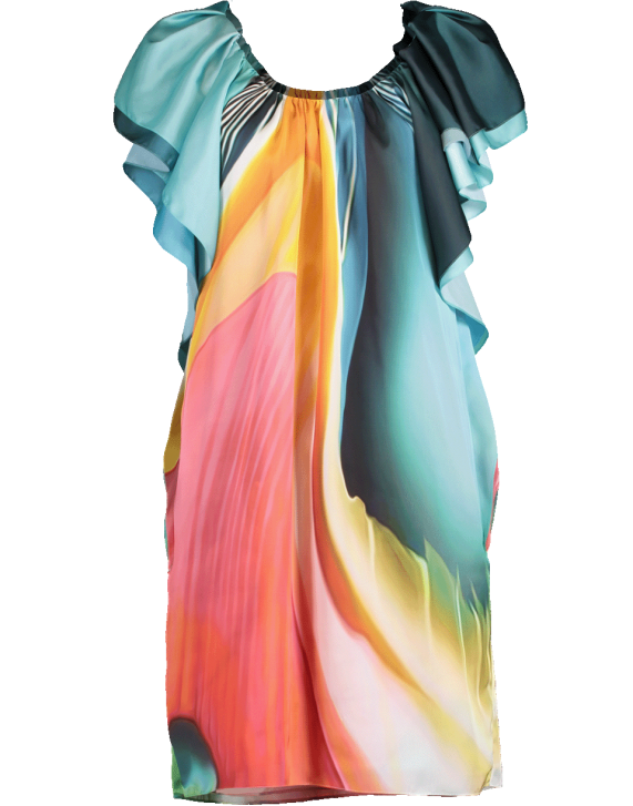 9281929dbf17 Mary Katrantzou Short Ruffle Sleeve Watermark Dress In Blwnglss ...