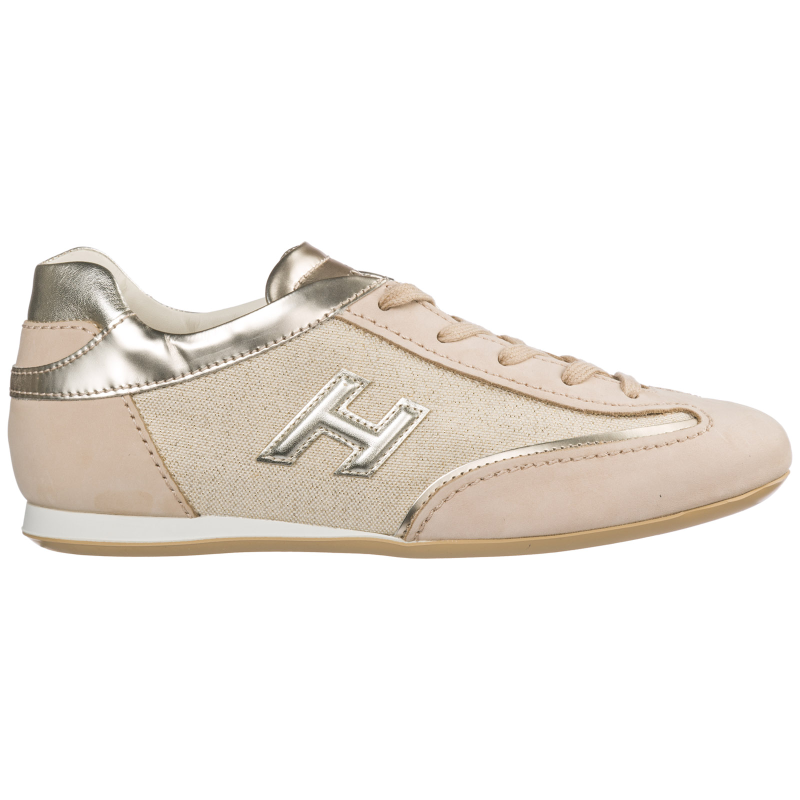 Hogan Women's Shoes Leather Trainers Sneakers Olympia In Beige ...