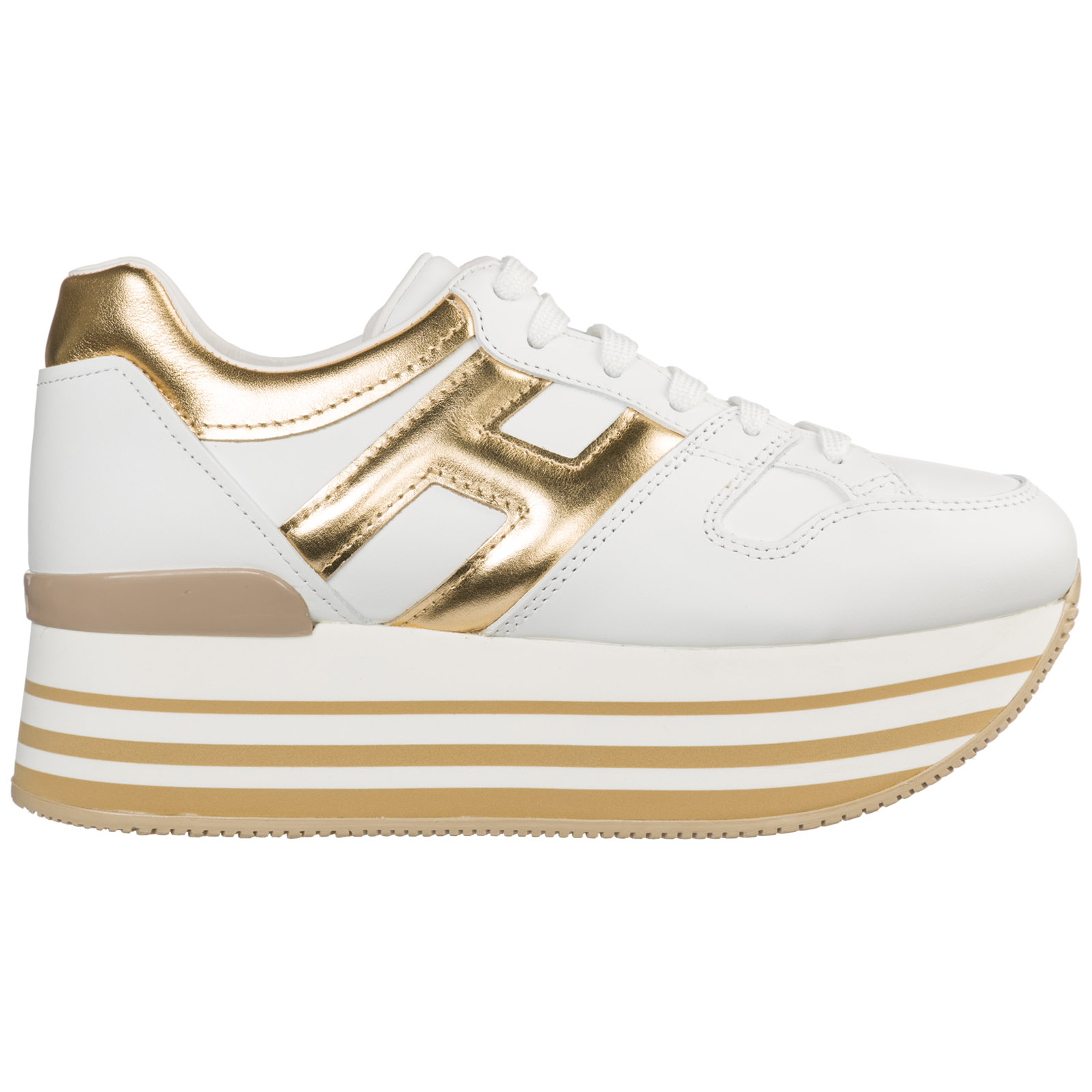 Hogan Women's Shoes Leather Trainers Sneakers Maxi H222 In White ...