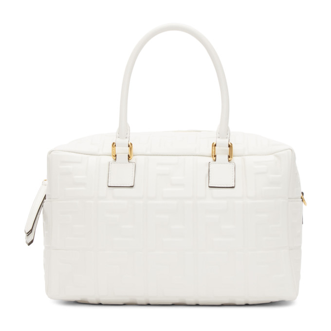 Fendi White Small Forever  Boston Bag In F15Ao White