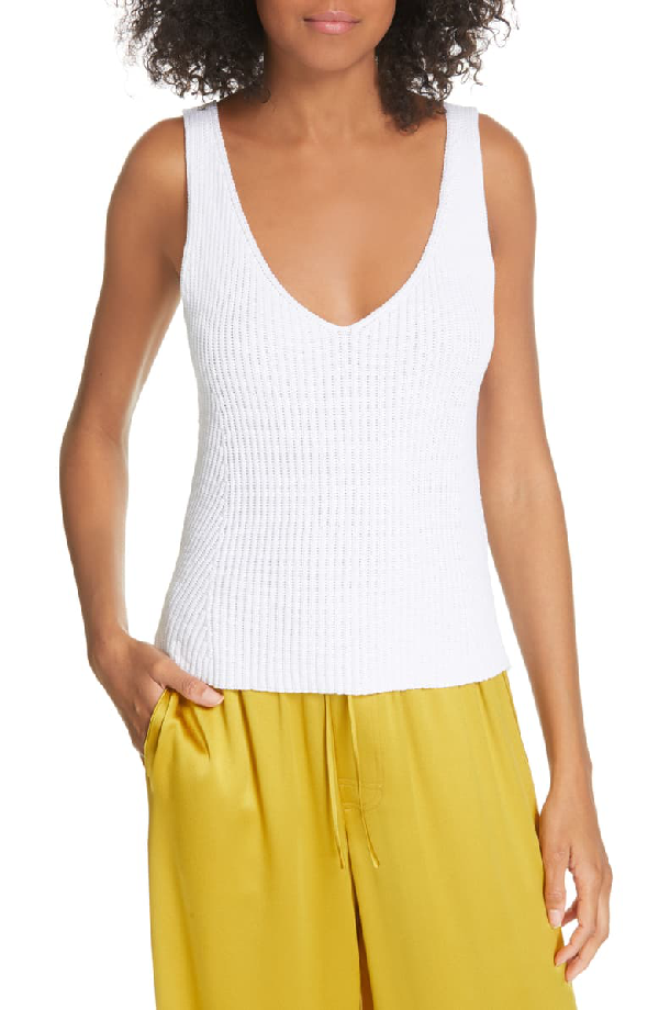 Vince Directional Rib Cotton Knit Tank Top In Optic White