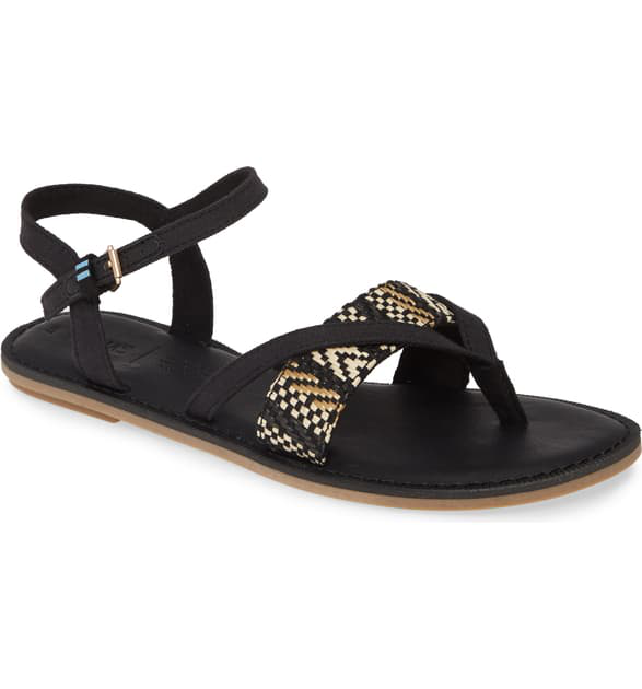 Toms Lexie Sandal In Black Geometric Canvas