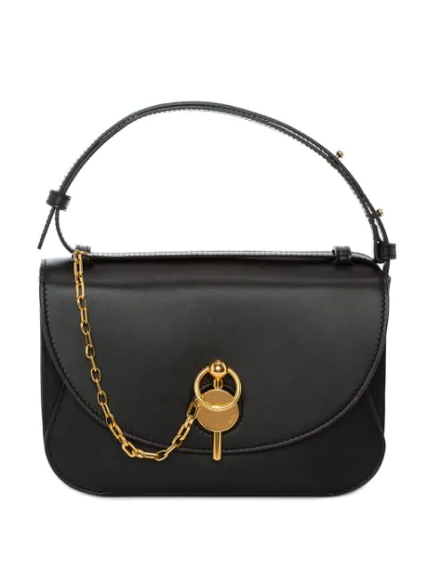 Jw Anderson Lock Leather Convertible Shoulder Bag - Black In 999 Black