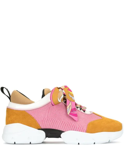 Emilio Pucci Embossed Mesh And Suede Sneakers In Pink