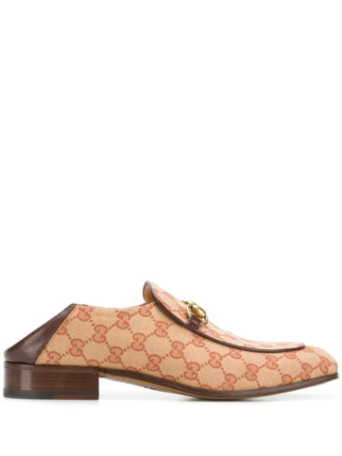 Gucci Gg Canvas Horsebit Loafers In Neutrals