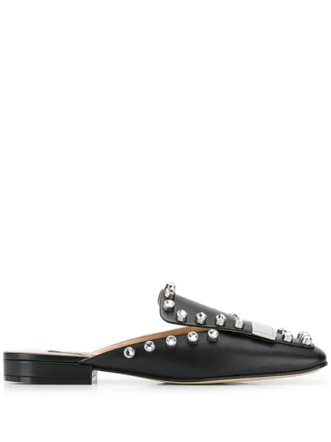 Sergio Rossi Crystal Studded Mules In 1498 Nero