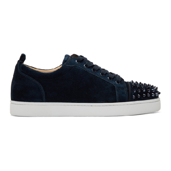Christian Louboutin Louis Junior Spike-Embellished Suede Trainers In Blue