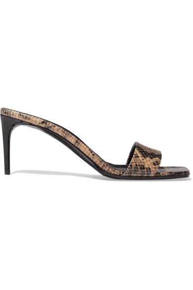 Stella Mccartney Net Sustain Snake-Effect Faux Leather Mules In Snake Print