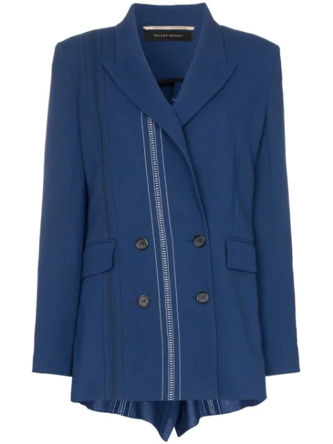 Roland Mouret Bourne Double-breasted Folded Wool Blazer In Blue