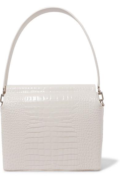 1c11f95b438 Duet Croc-Effect Leather Shoulder Bag in Ivory