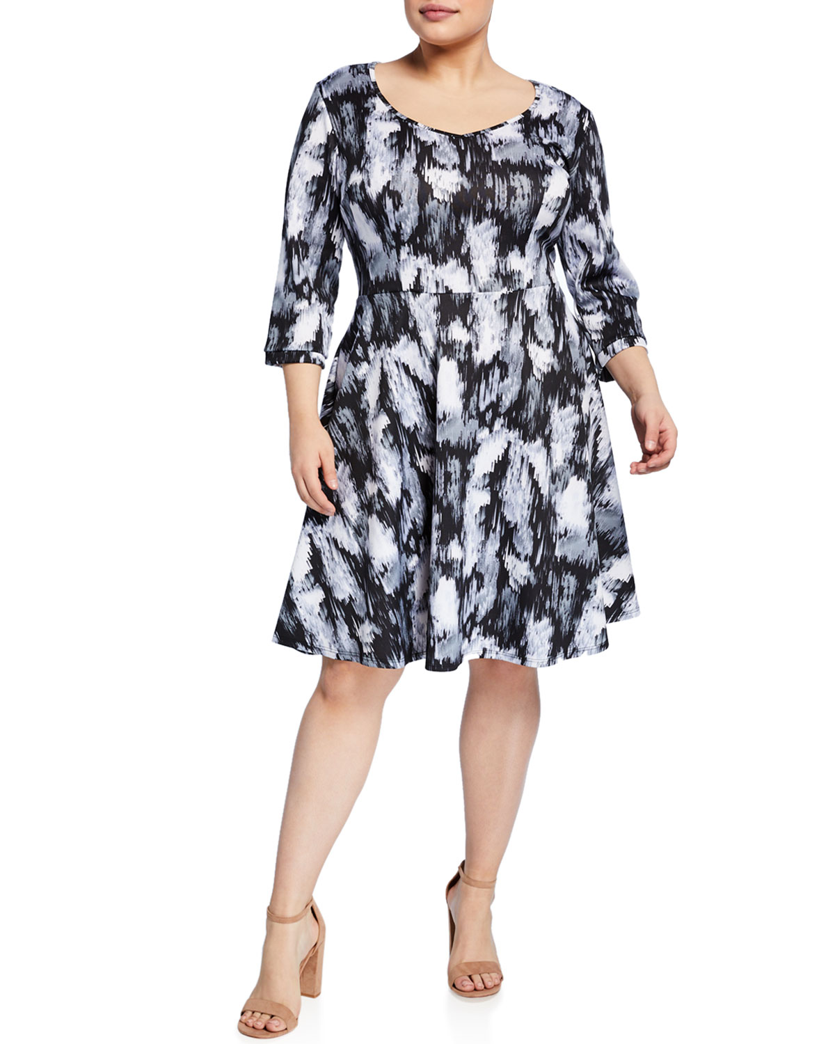 Plus Size Printed Fit-And-Flare Dress in Gray Pattern